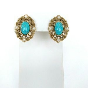 Gold-tone Turquoise Earrings
